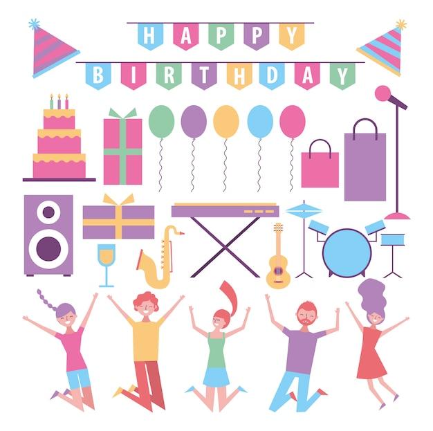 Insieme di elementi di celebrazione e compleanno di persone