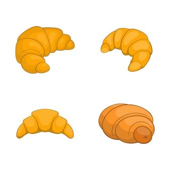 Insieme di elementi di cornetto. insieme del fumetto degli elementi di vettore del croissant