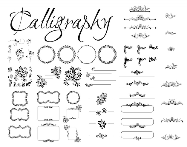 Insieme di elementi di design calligrafico, decorazioni di pagina, divisori e copricapo ornati. calligrafia in stile roma.