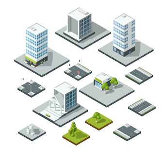 Insieme di elementi di design del paesaggio città isometrica. costruttore 3d