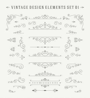 Insieme di elementi di design di decorazioni ornamenti d'epoca.