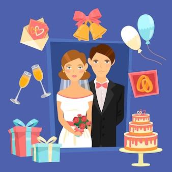 Insieme di elementi di design di nozze