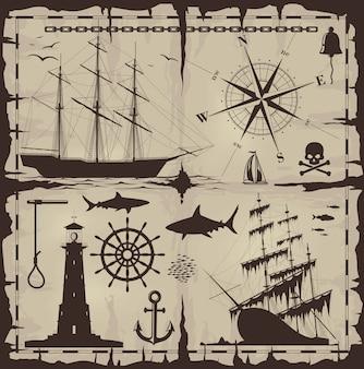Insieme di elementi di design nautico
