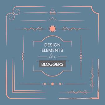 Insieme di elementi di design per il vettore di blogger