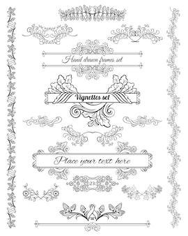 Insieme di elementi di disegno decorativo floreale di schizzo di bordi d'angolo di belle cornici