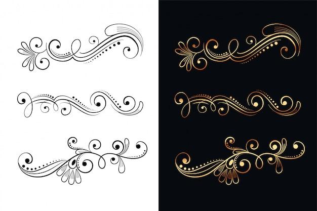 Insieme di elementi di disegno decorativo floreale ornamentale di sei