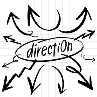 Insieme di elementi di disegno di frecce di direzioni disegnate a mano