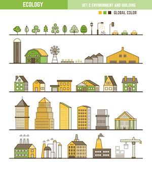 Insieme di elementi di ecologia infografica