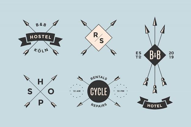 Insieme di elementi di emblema, logo e design