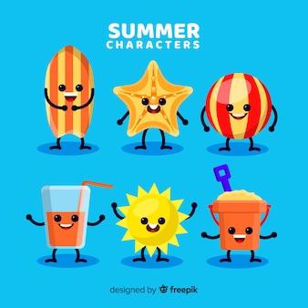 Insieme di elementi di estate kawaii