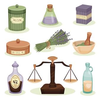 Insieme di elementi di farmacia. vaso con talco, cotone e droghe, bottiglie con liquidi, mortaio con pestello. medicina alternativa