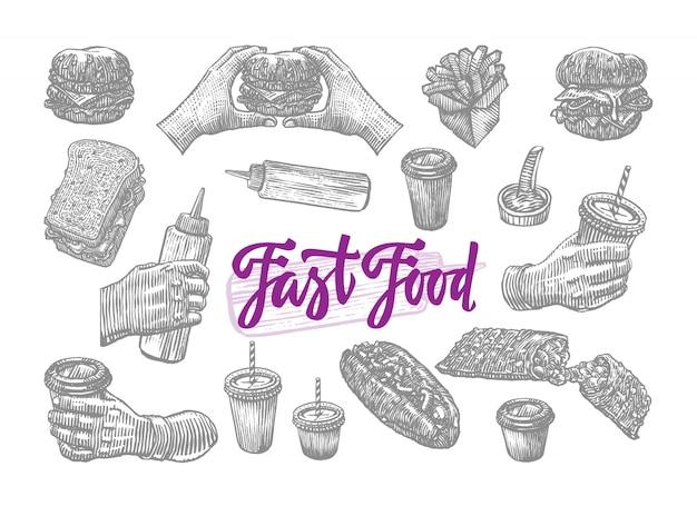 Insieme di elementi di fast food di schizzo