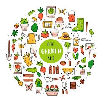 Insieme di elementi di giardinaggio