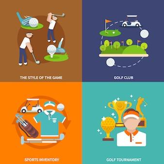 Insieme di elementi di golf piatto composizione