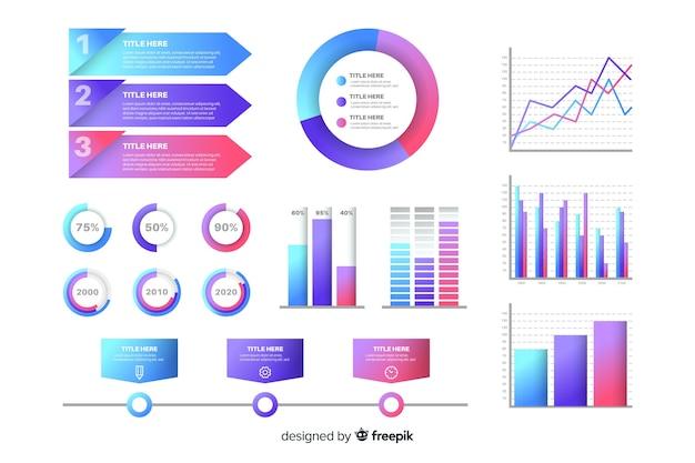 Insieme di elementi di gradiente infografica