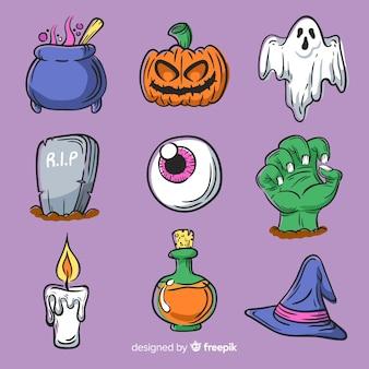 Insieme di elementi di halloween disegnati a mano
