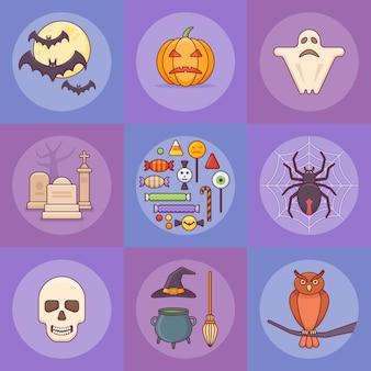 Insieme di elementi di halloween in stile piano.