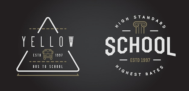 Insieme di elementi di identità vector school o college