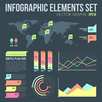 Insieme di elementi di infografica design piatto vettoriale con mappa e grafici