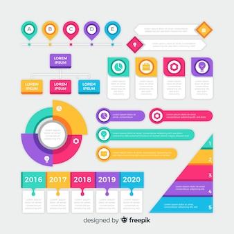 Insieme di elementi di infografica design piatto