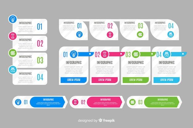 Insieme di elementi di infografica in design piatto