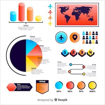 Insieme di elementi di infografica sfumati