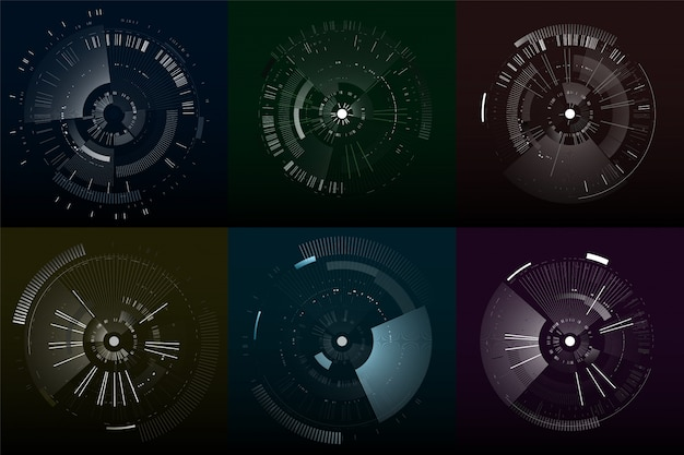 Insieme di elementi di interfaccia futuristica. circoli tecnologici. interfacce utente futuristiche digitali.