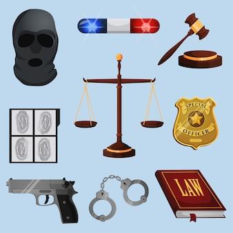 Insieme di elementi di legge e giustizia