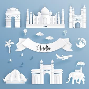Insieme di elementi di monumenti famosi del mondo dell'india.