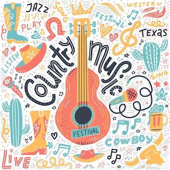 Insieme di elementi di musica country per banner festival