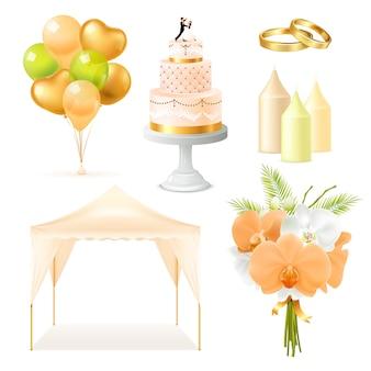 Insieme di elementi di nozze realistico