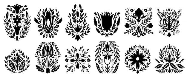 Insieme di elementi di ornamento popolare tradizionale