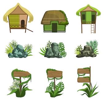 Insieme di elementi di paesaggio della giungla