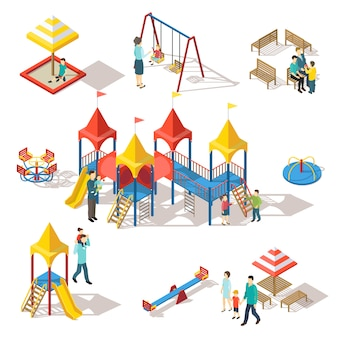 Insieme di elementi di parco giochi isometrici colorati