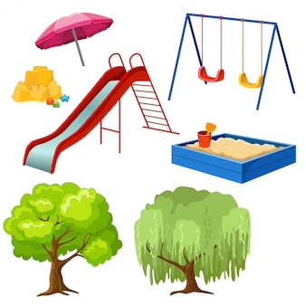 Insieme di elementi di parco giochi.