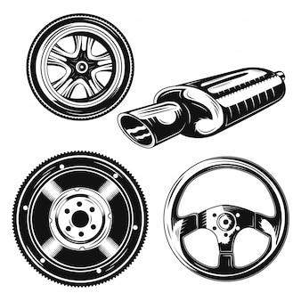 Insieme di elementi di parti di automobili