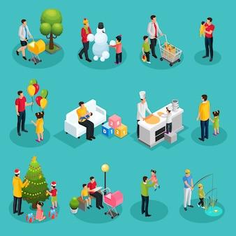 Insieme di elementi di paternità isometrica del padre che cammina giocando a fare shopping cucinare leggere decorare la pesca dell'albero di natale con i bambini isolati
