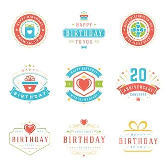 Insieme di elementi di progettazione di vettore di distintivi ed etichette di buon compleanno.