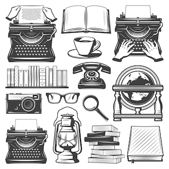 Insieme di elementi di scrittore vintage con macchina da scrivere libri caffè occhiali lente d'ingrandimento lampada a olio notebook fotocamera retrò globo telefono isolato