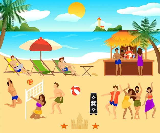 Insieme di elementi di spiaggia tropicale