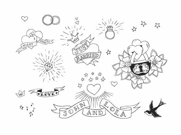Insieme di elementi di tatuaggio tradizionale disegnato a mano. design vintage per adesivi e stampe.