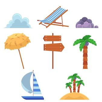 Insieme di elementi di vacanze estive stile piano