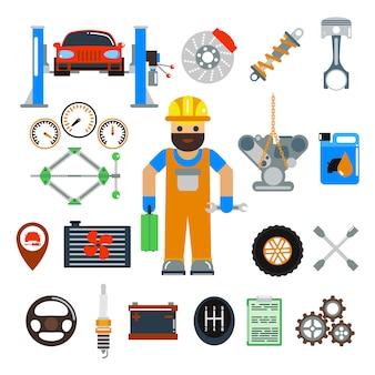 Insieme di elementi di vettore di riparazione di servizio dell'automobile