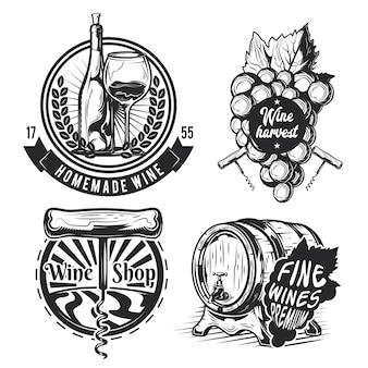 Insieme di elementi di vinificazione (botte, uva, bottiglia ecc.) emblemi, etichette, distintivi, loghi.