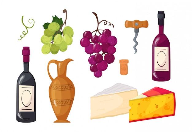 Insieme di elementi di vino dei cartoni animati.