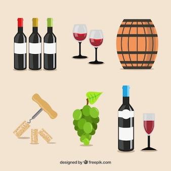 Insieme di elementi di vino