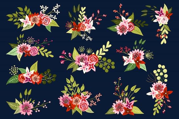 Insieme di elementi e mazzi floreali disegnati a mano