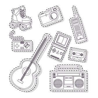 Insieme di elementi e tecnologia anni '90