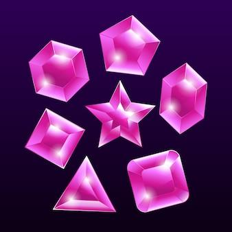 Insieme di elementi emblema gemma pietra viola
