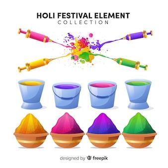 Insieme di elementi festival colorato di holi